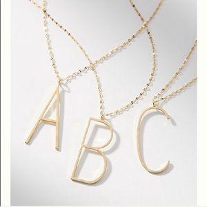 Anthropologie monogram pendant necklace letter B